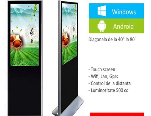 Totem LCD, pe picior, pentru informatii si publicitate